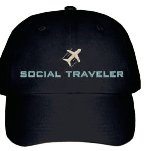 social traveler black baseball cap