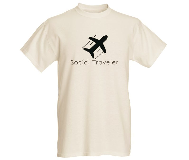 social traveler white t-shirt
