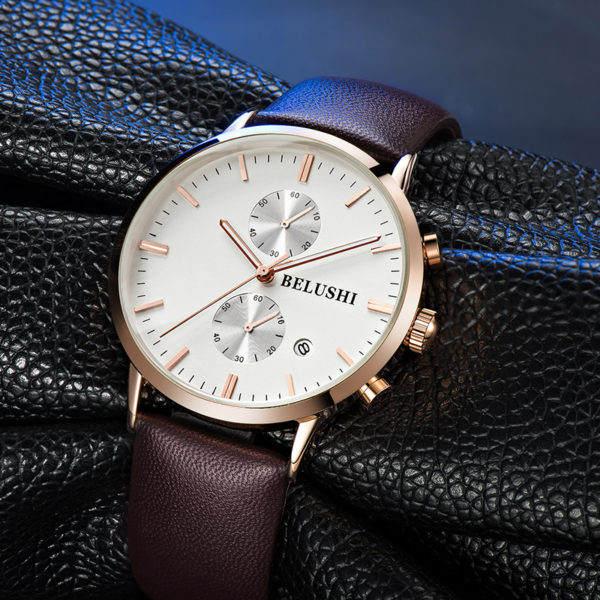 Men's Chronographic Leather Business Watch